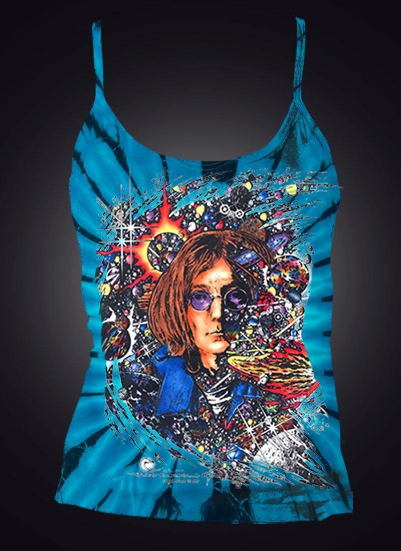 Number 9 Women's Tank Top Inspired by John Lennon - Blue tie dye 100% cotton