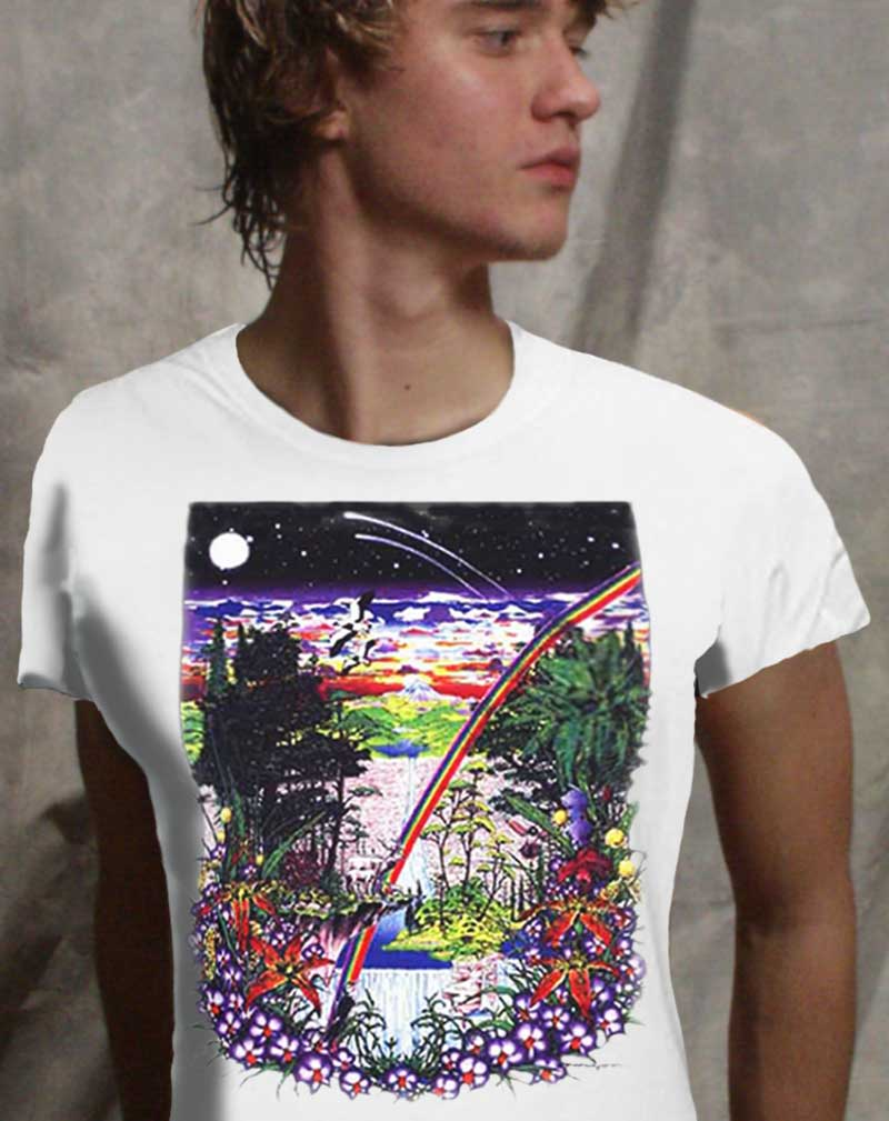 Ancient Forest T-shirt - Men's white, 100% cotton crew neck cut, short sleeve tee.