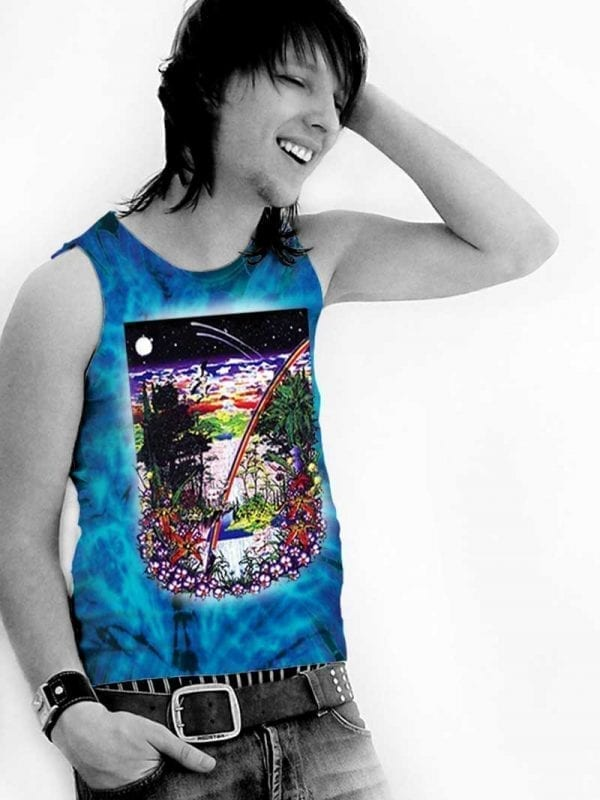 Ancient Forest Tank Top - Men's purple tie dye, 100% cotton sleeveless tank top.