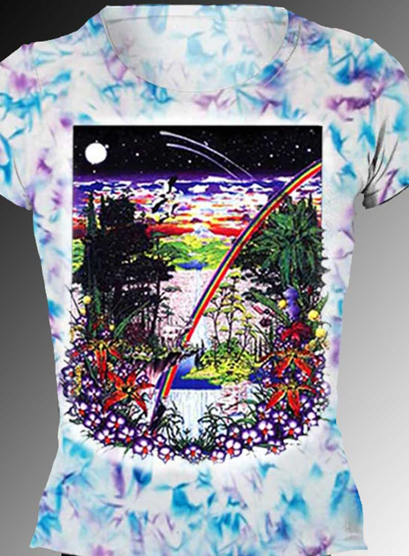 Ancient Forest T-shirt - Women's blue and purple crystallized, 100% cotton crew neck cut, short sleeve tee.