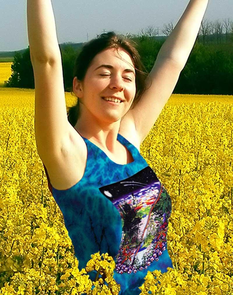 Ancient Forest Tank Top - Women's purple tie dye, 100% cotton sleeveless tank top.