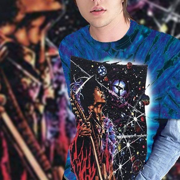 Jimi Hendrix t-shirt inspired - Big Wing purple tie dye men's