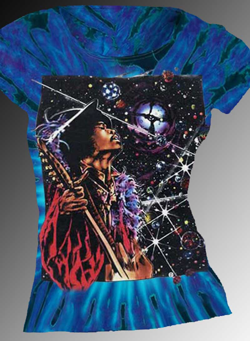 Big Wing Inspired by Jimi Hendrix T-shirt - Women's purple tie dye, 100% cotton crew neck cut, short sleeve tee.