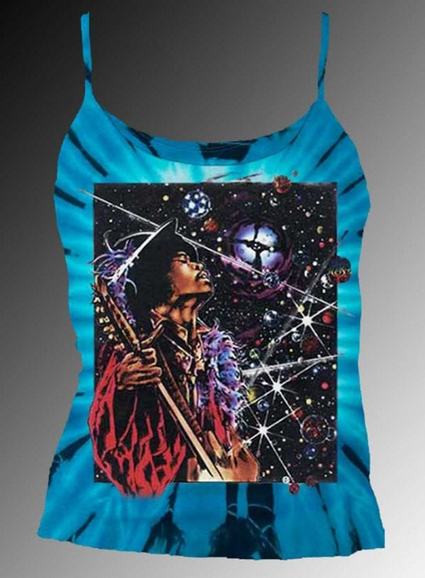 Big Wing Inspired by Jimi Hendrix Tank Top - Women's blue tie dye, 100% cotton sleeveless tank top.