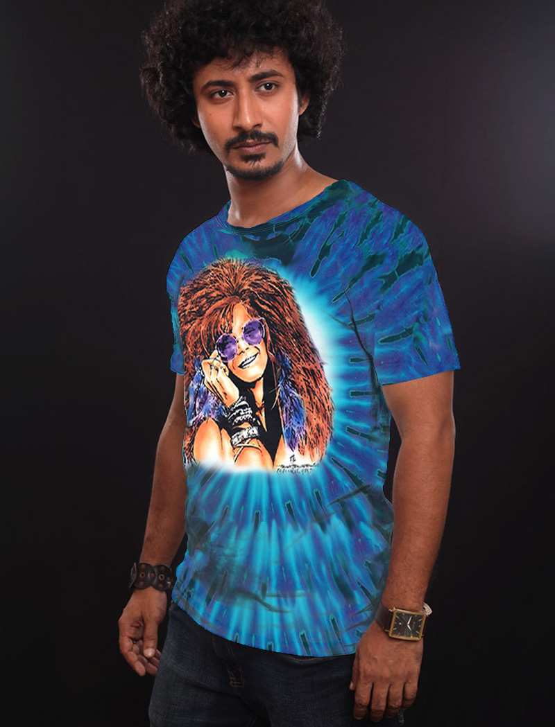 Bluesy Mama T-shirt - Men's purple tie dye, 100% cotton crew neck cut, short sleeve tee.