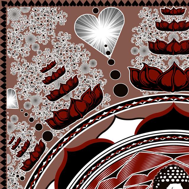 Buddha Tapestry - Lotus Flower Mandala Meditation Tapestry closeup.