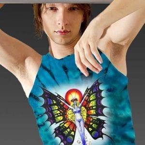 Butterfly Lady Tank Top - Men's blue tie dye, 100% cotton sleeveless tank top.