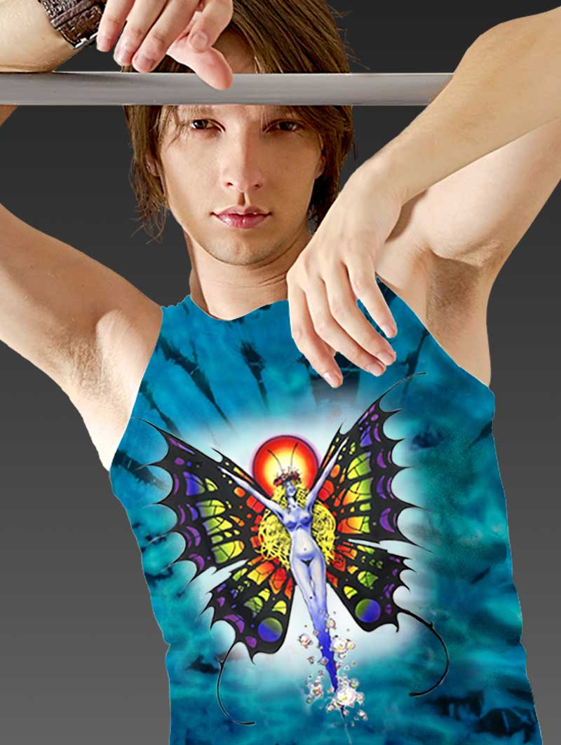 Butterfly Lady Tank Top - Men's blue tie dye, 100% cotton sleeveless tank top.