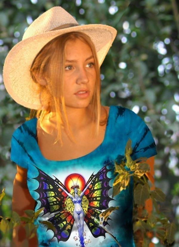 Butterfly Lady T-shirt - Women's blue tie dye, 100% cotton crew neck cut, short sleeve tee.