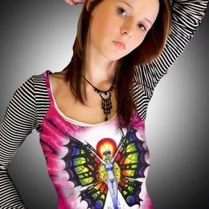 Butterfly Lady Tank Top - Women's pink tie dye, 100% cotton sleeveless tank top.