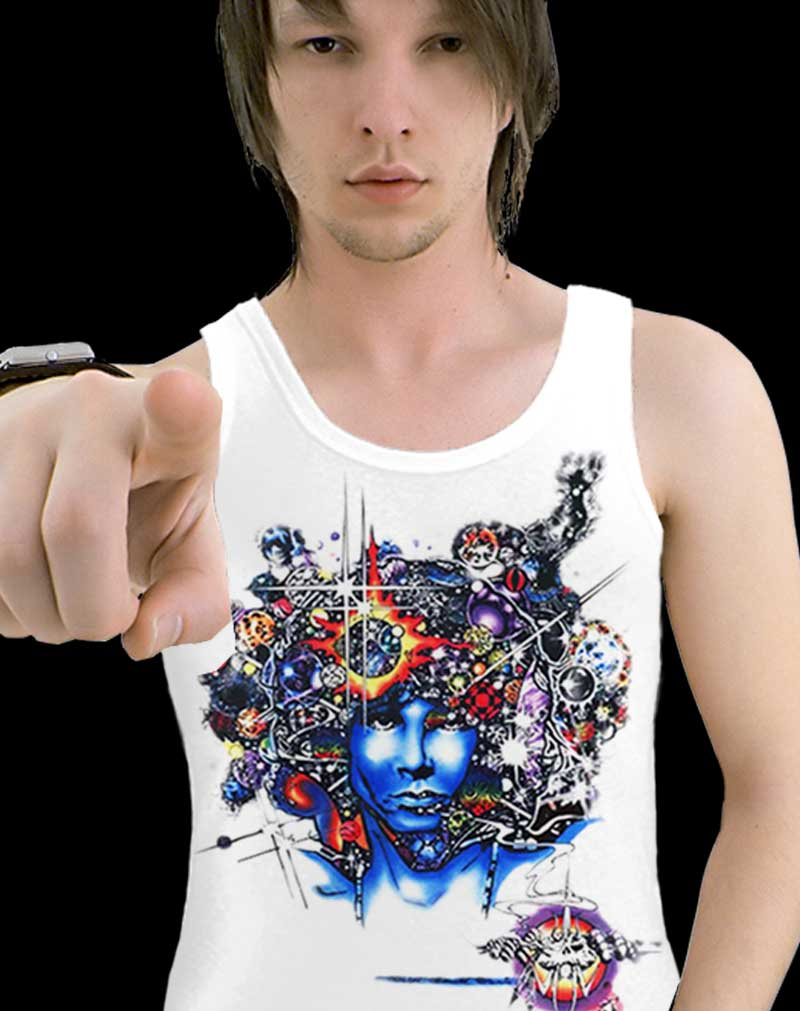 Jim Morrison tank top men's inspired Door Ways - Men's white, 100% cotton sleeveless tank top.