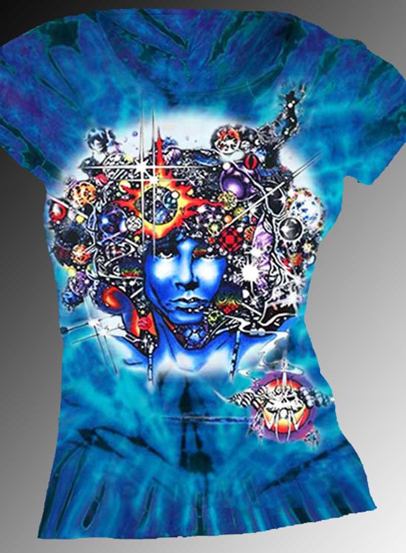 Door Ways T-shirt - Women's purple tie dye, 100% cotton crew neck cut, short sleeve tee.
