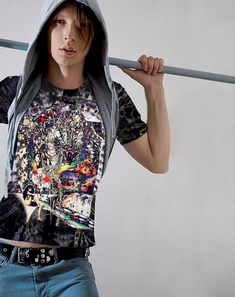 Dragon Lady T-shirt - Men's black tie dye, 100% cotton crew neck cut, short sleeve tee.