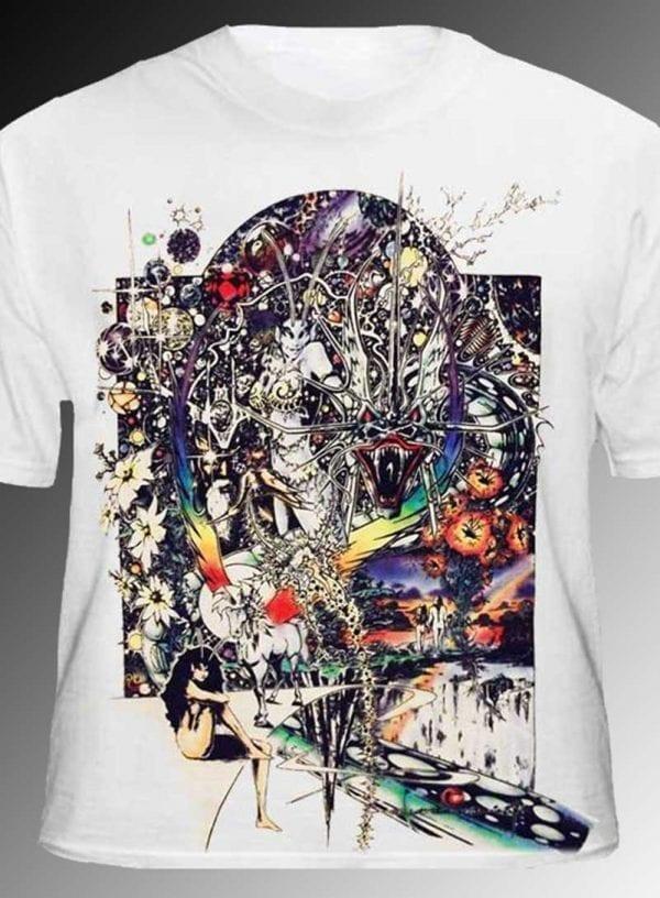 Dragon Lady T-shirt - Men's white, 100% cotton crew neck cut, short sleeve tee.