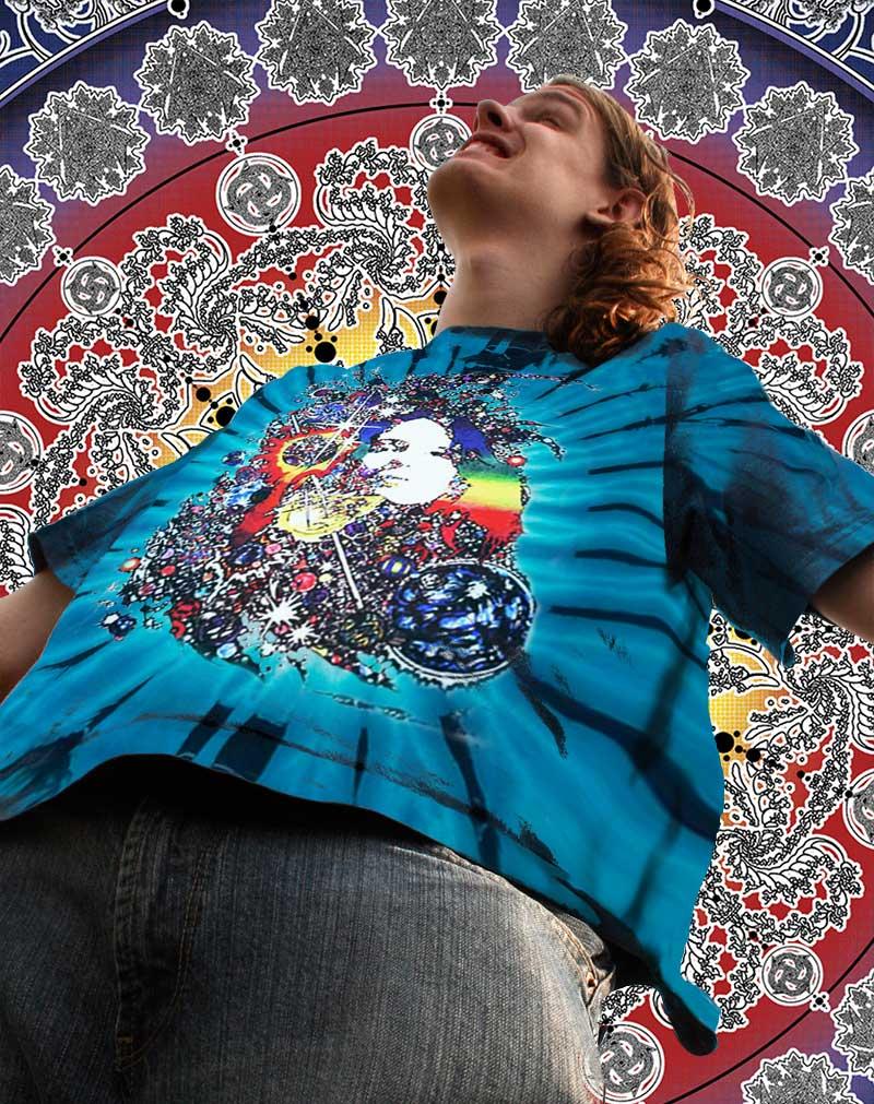 Janis Joplin T-shirt Men's Inspired Dune - Men's blue tie dye, 100% cotton crew neck cut, short sleeve tee.