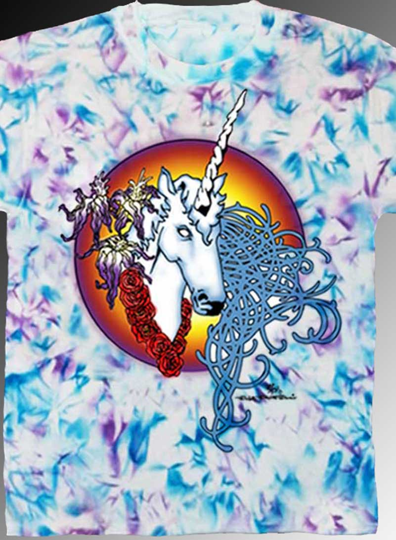 Female Unicorn Tank Top - Men's blue and purple crystallized, 100% cotton sleeveless tank top.