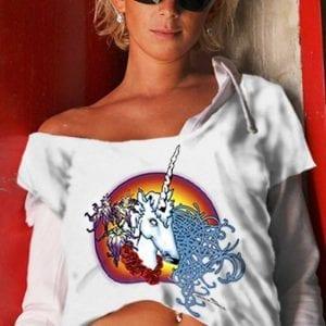 Female Unicorn T-shirt - Women's white, 100% cotton crew neck cut, short sleeve tee.