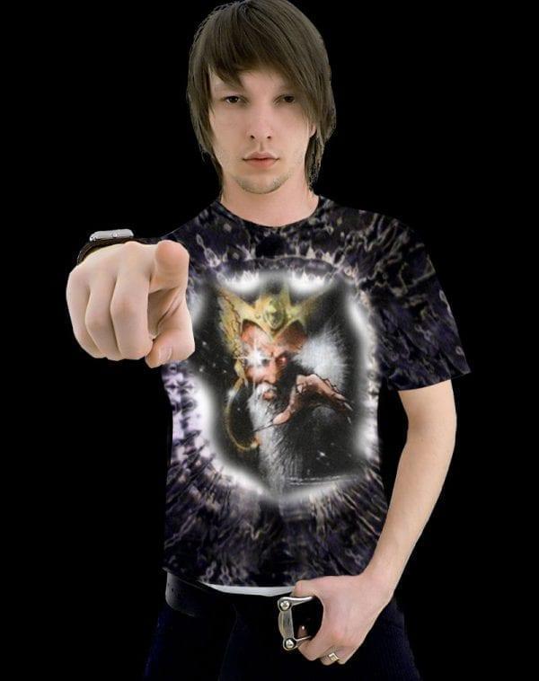 Ghost Wizard T-shirt - Men's black tie dye, 100% cotton crew neck cut, short sleeve tee.