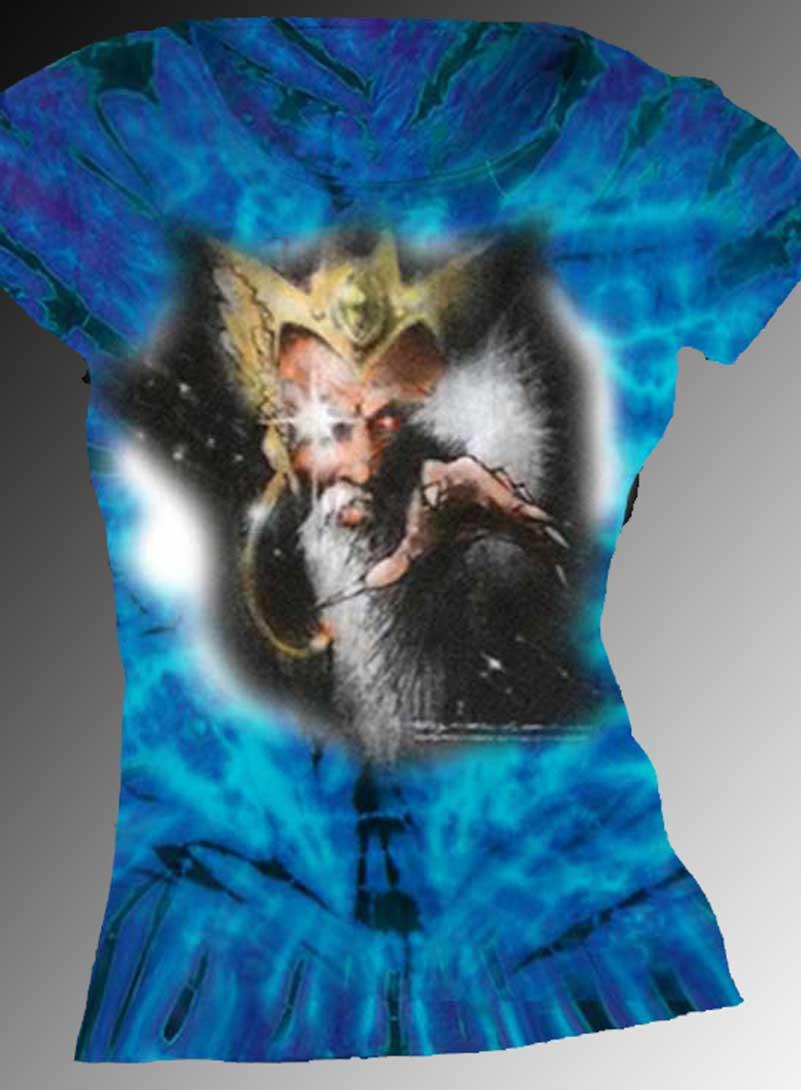 Ghost Wizard T-shirt - Women's purple tie dye, 100% cotton crew neck cut, short sleeve tee.