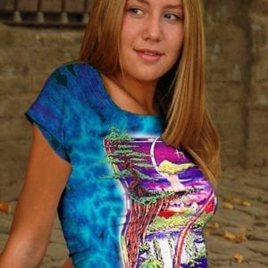 Girl on a Cliff T-shirt - Women's purple tie dye, 100% cotton crew neck cut, short sleeve tee.