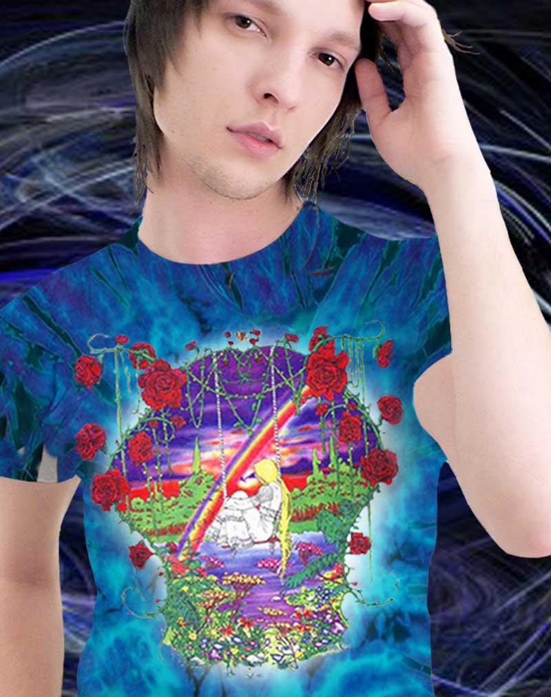 Girl on a Swing T-shirt - Men's purple tie dye, 100% cotton crew neck cut, short sleeve tee.