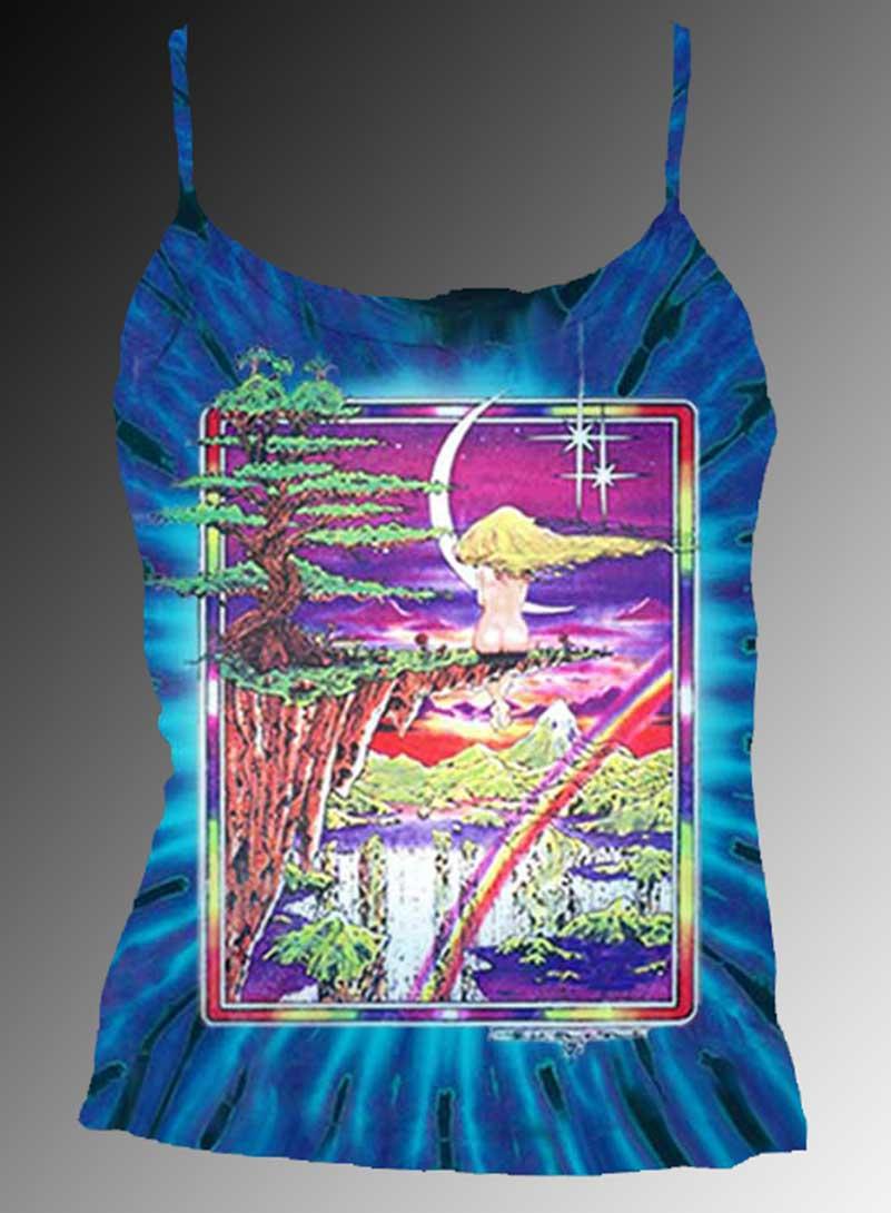 Girl on a Cliff Tank Top - Women's purple tie dye, 100% cotton sleeveless tank top.
