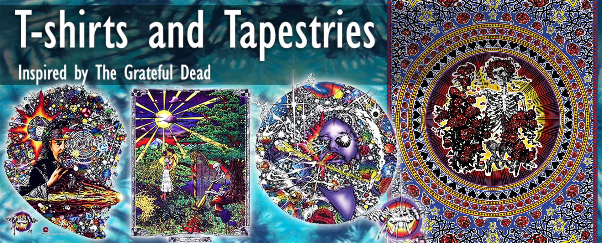 Grateful Dead inspired t-shirts, tank tops tie dyes