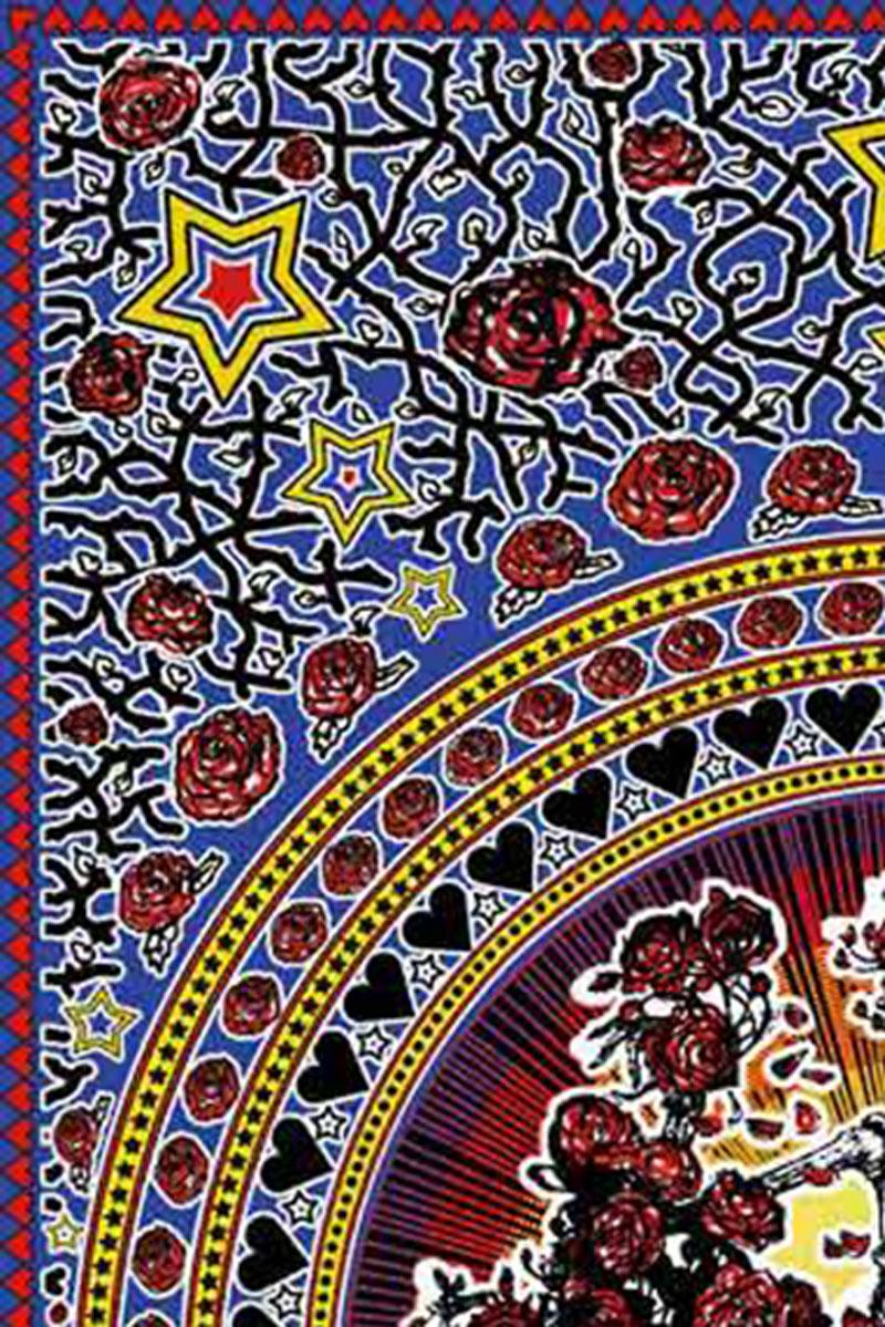 Grateful Dead Skull and Roses Tapestry - Bertha Tapestry closeup