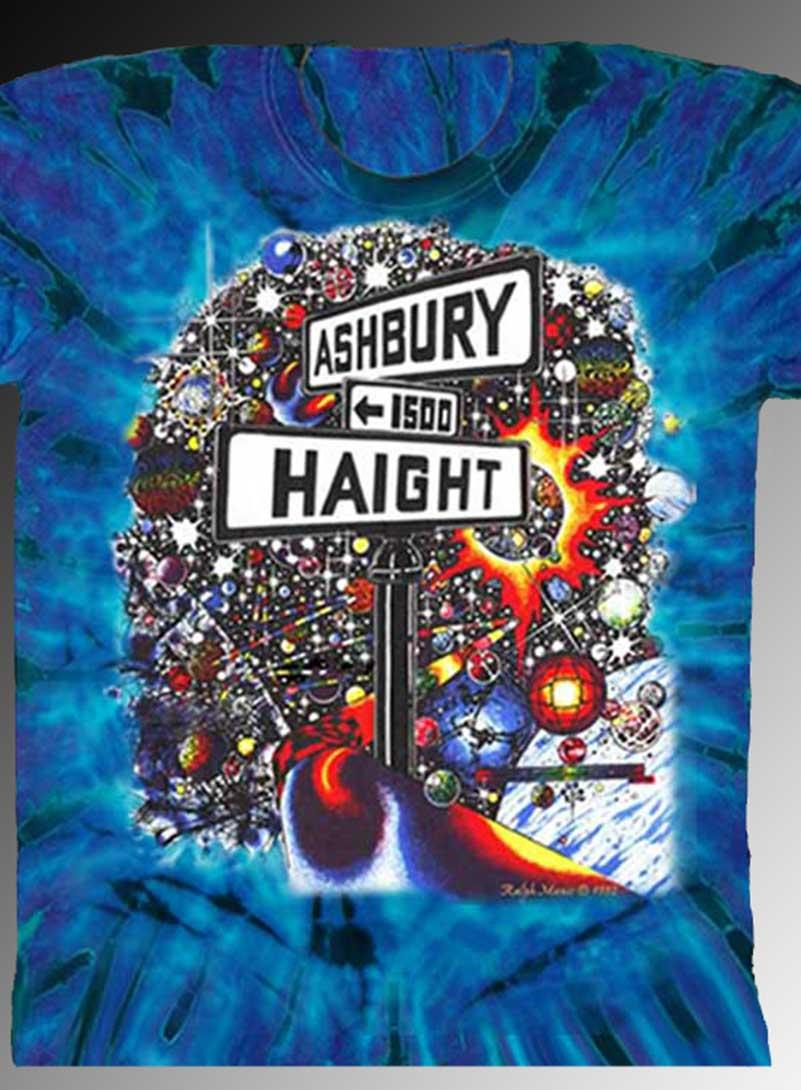 Haight Ashbury T-shirt - Men's purple tie dye, 100% cotton crew neck cut, short sleeve tee.