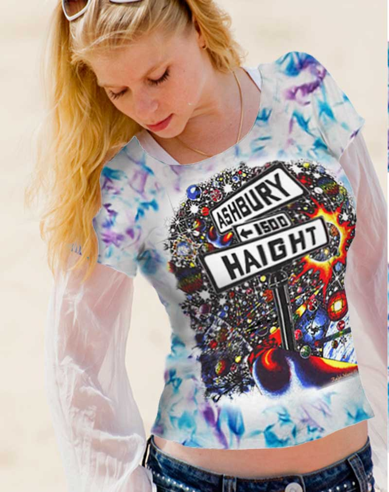 Haight Ashbury T-shirt - Women's blue and purple crystallized, 100% cotton crew neck cut, short sleeve tee.