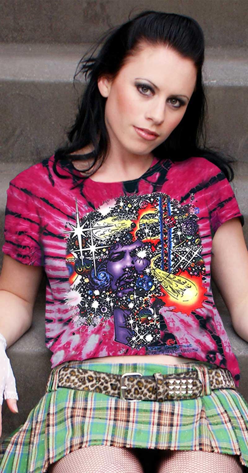 Jimi Hendrix T-shirt Ladies Inspired Haze - Women's pink tie dye, 100% cotton crew neck cut, short sleeve tee.