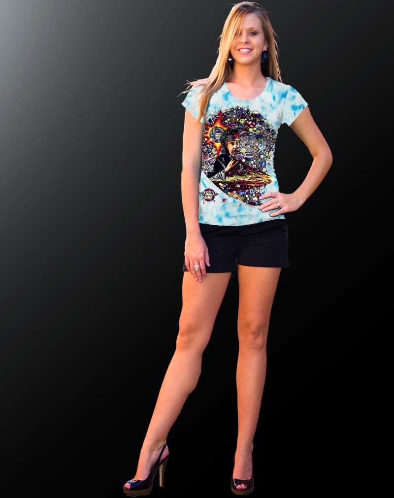 Hog T-shirt - Women's blue crystallized, 100% cotton crew neck cut, short sleeve tee.