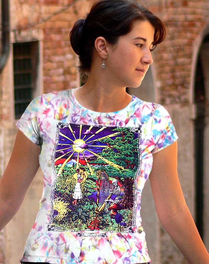 Inspiration T-shirt - Women's rainbow crystallized, 100% cotton crew neck cut, short sleeve tee.