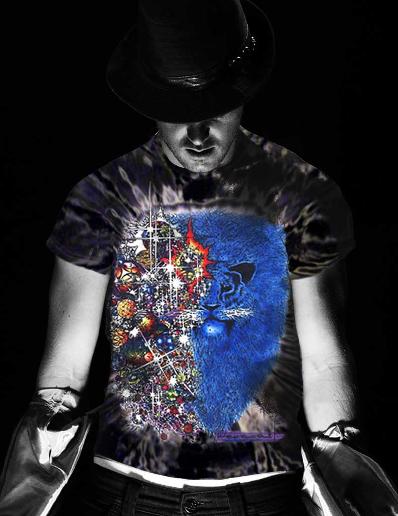 Lion from Zion Inspired by Carlos Santana T-shirt - Men's black tie dye, 100% cotton crew neck cut, short sleeve tee.