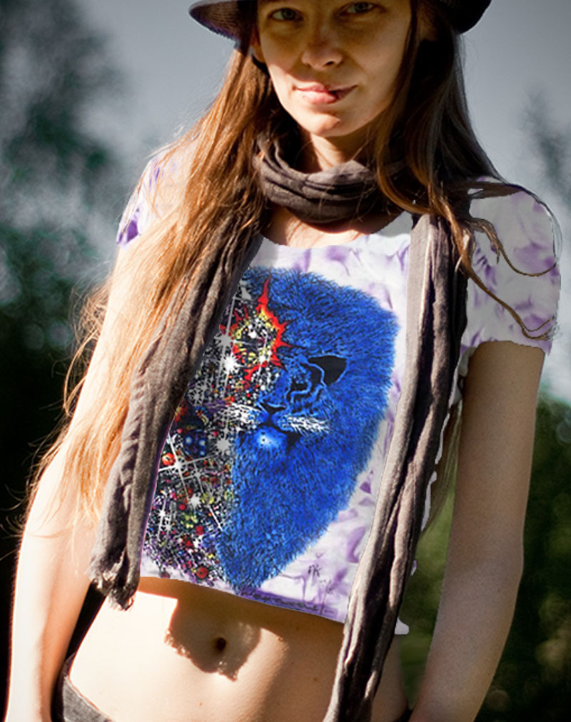 Lion from Zion Inspired by Carlos Santana T-shirt - Women's purple crystallized, 100% cotton crew neck cut, short sleeve tee.
