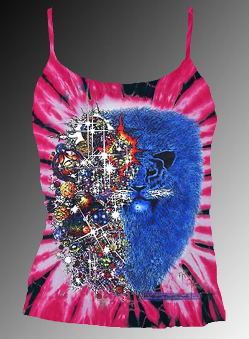Lion from Zion Inspired by Carlos Santana Tank Top - Women's pink tie dye, 100% cotton sleeveless t-shirt.