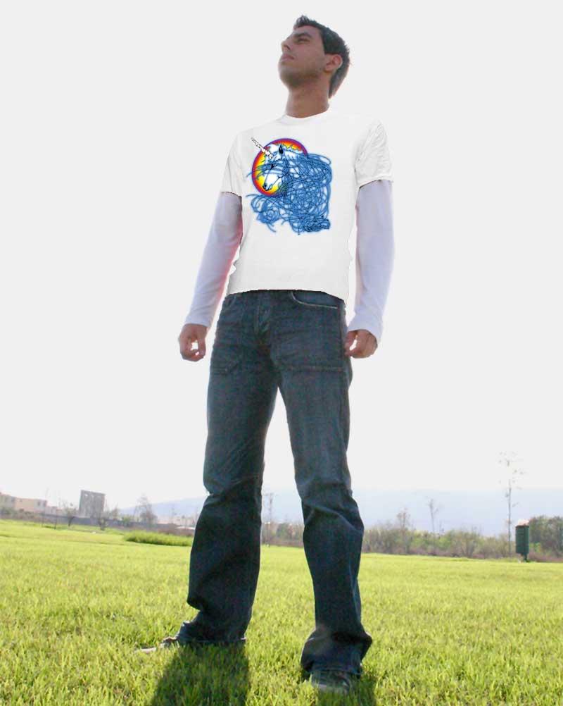 Male Unicorn T-shirt - Men's white, 100% cotton crew neck cut, short sleeve tee.