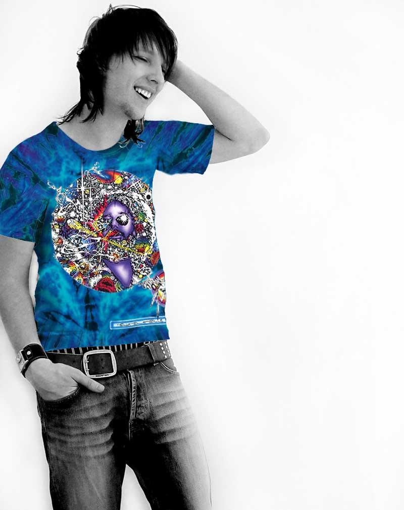 Mr Fantasy T-shirt - Men's purple tie dye, 100% cotton crew neck cut, short sleeve tee.