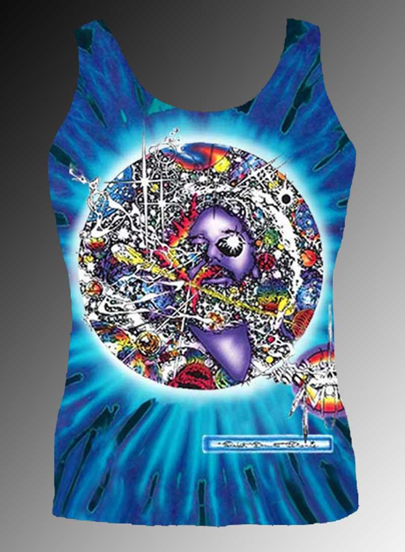 Mr Fantasy Tank Top - Men's purple tie dye, 100% cotton sleeveless tank top.