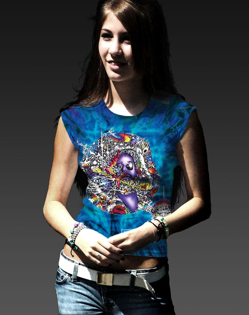 Mr Fantasy T-shirt - Women's purple tie dye, 100% cotton crew neck cut, short sleeve tee.