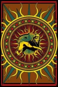 Rasta Lion of Judah with Flag Reggae Music Tapestry