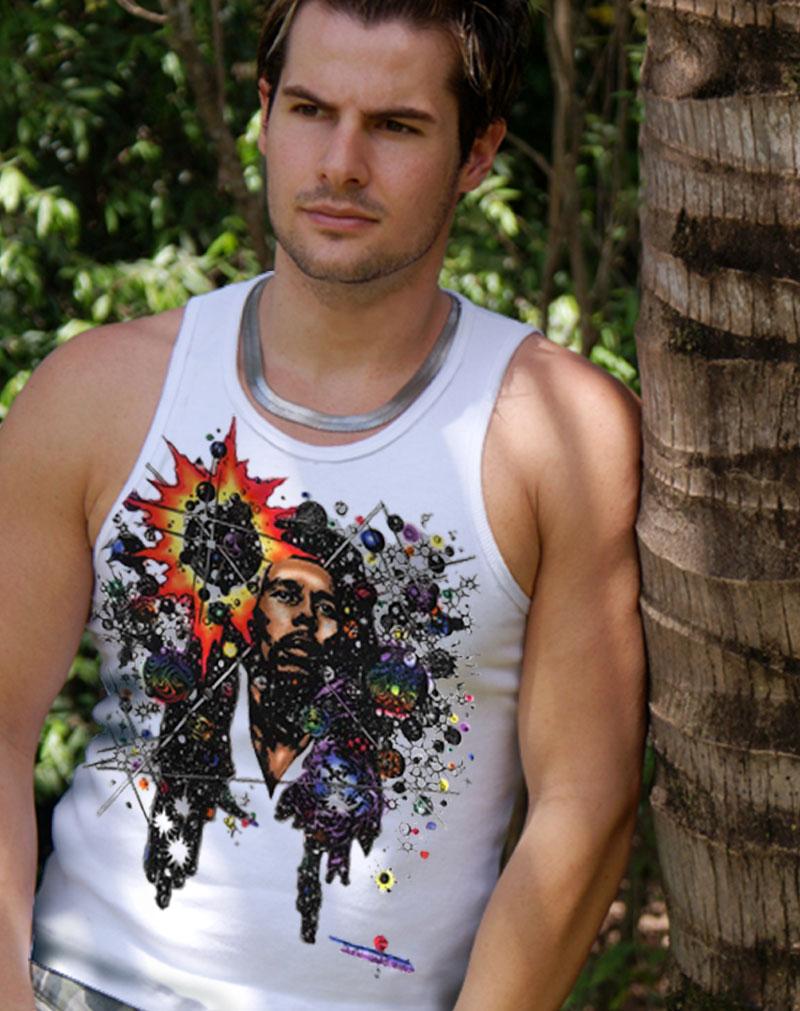 Rasta Mon Inspired by Bob Marley Tank Top - Men's white, 100% cotton sleeveless tank top.