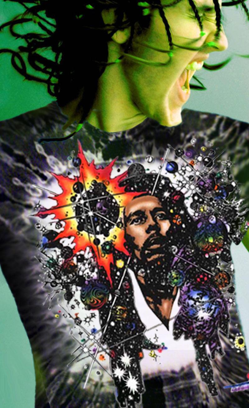 Rasta Mon Inspired by Bob Marley T-shirt - Men's black tie dye, 100% cotton crew neck cut, short sleeve tee.