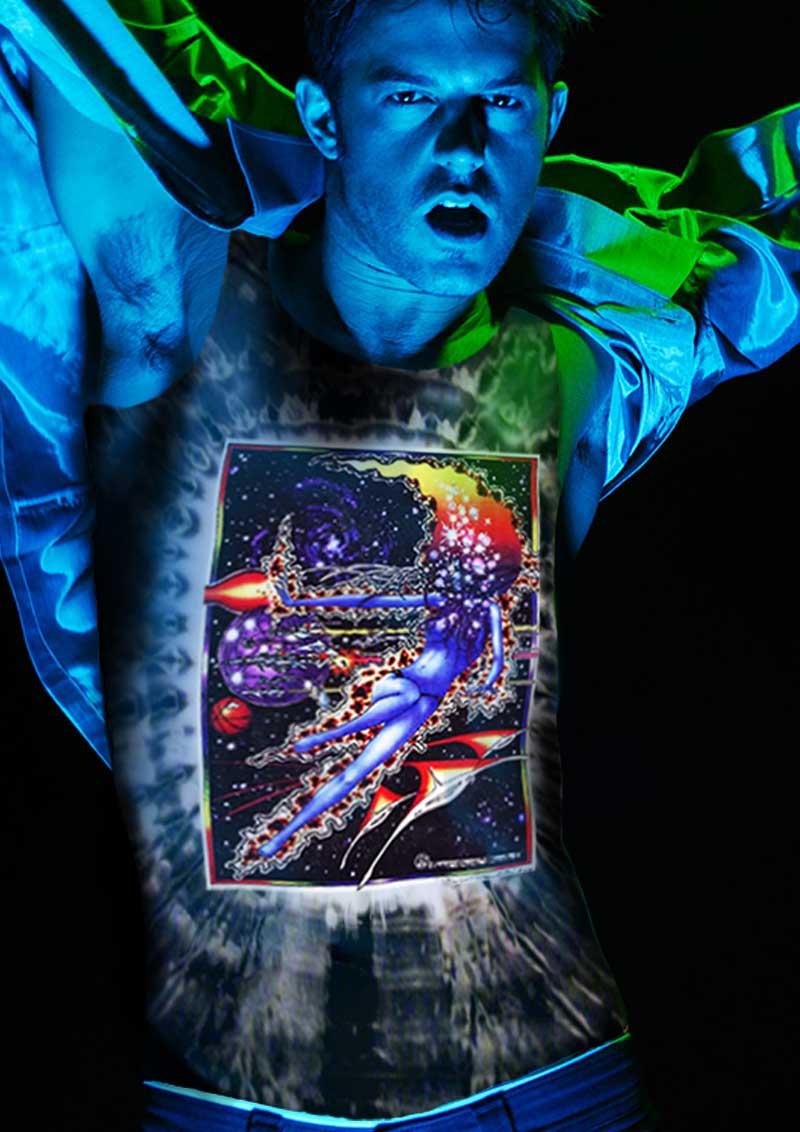 Space Maiden Tank Top - Men's black tie dye, 100% cotton sleeveless tank top.