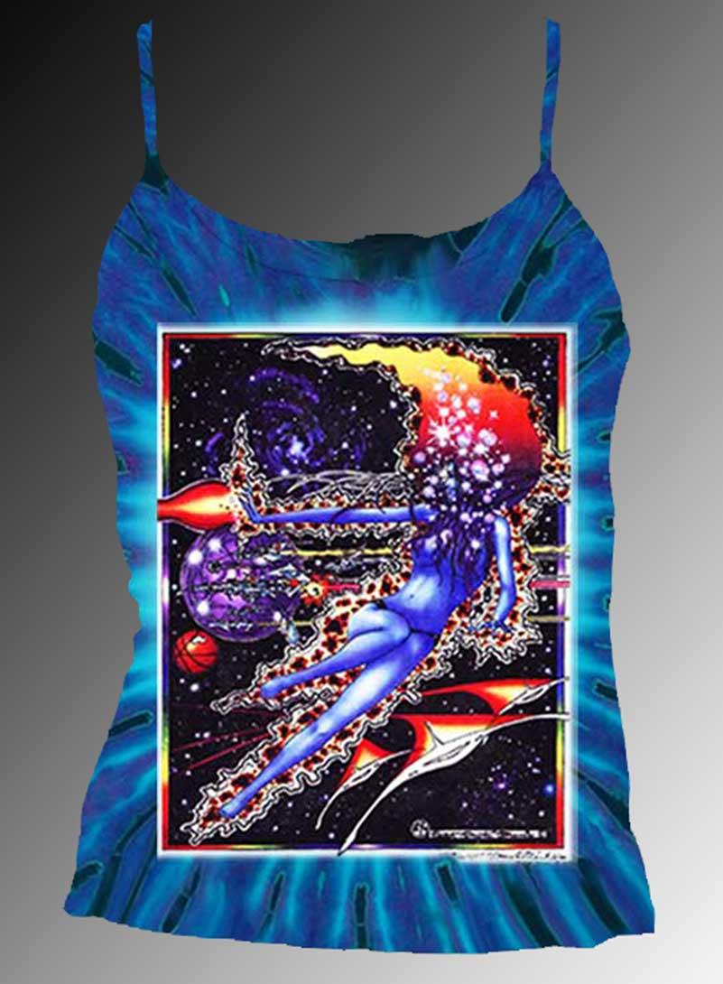 Space Maiden Tank Top - Women's purple tie dye, 100% cotton sleeveless tank top.