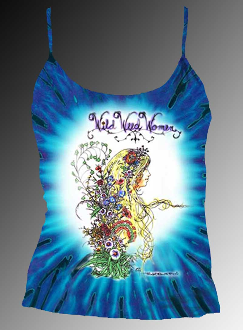 Wild Weed Women Tank Top - Women's purple tie dye, 100% cotton sleeveless tank top.