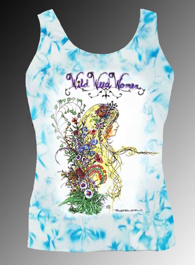 Wild Weed Women Tank Top - Men's blue crystallized, 100% cotton sleeveless tank top.