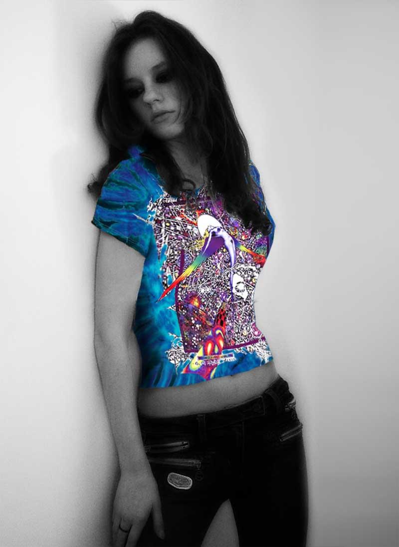 Wings T-shirt - Women's purple tie dye, 100% cotton crew neck cut, short sleeve tee.