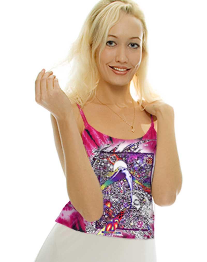 Led Zeppelin Inspired Tank Top - Wings, women's pink tie dye, 100% cotton sleeveless tank top.