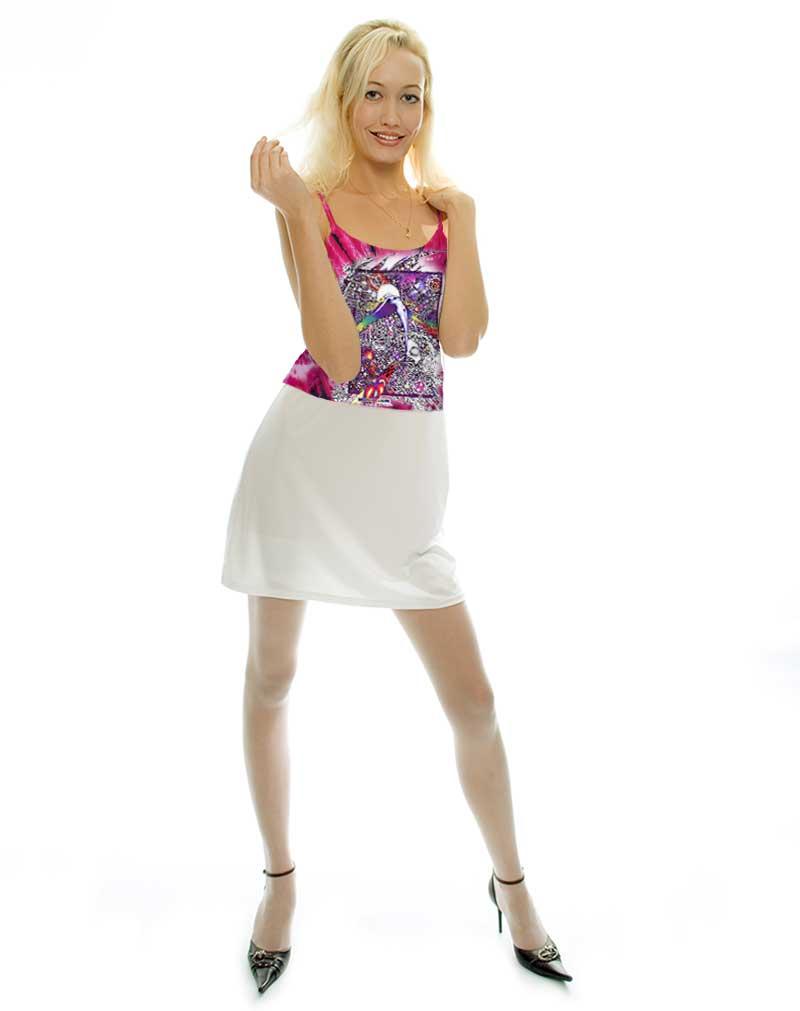 Wings Tank Top - Women's pink tie dye, 100% cotton sleeveless tank top.